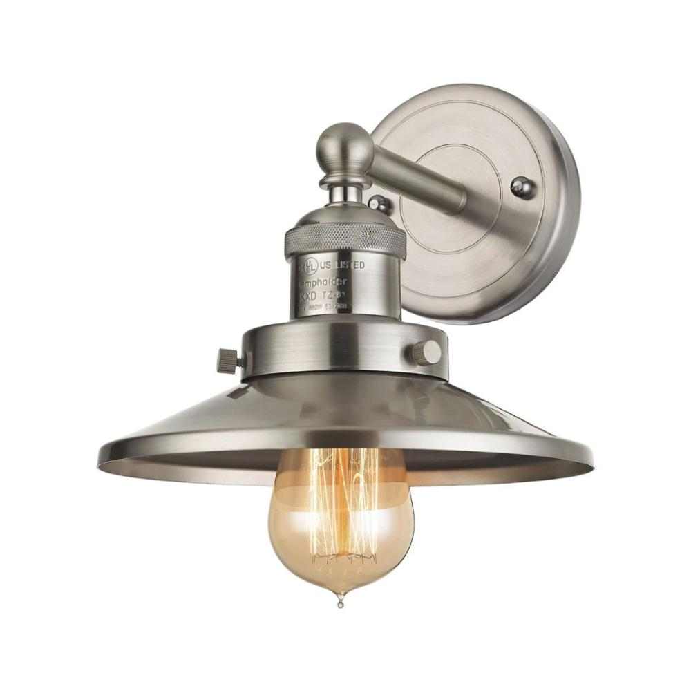 English Pub Sconce, Sconce, Satin Nickel