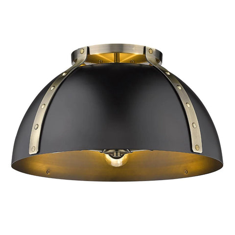 Aldrich Mount, 3-Light Flush Mount, Matte Black Shade, Aged Brass