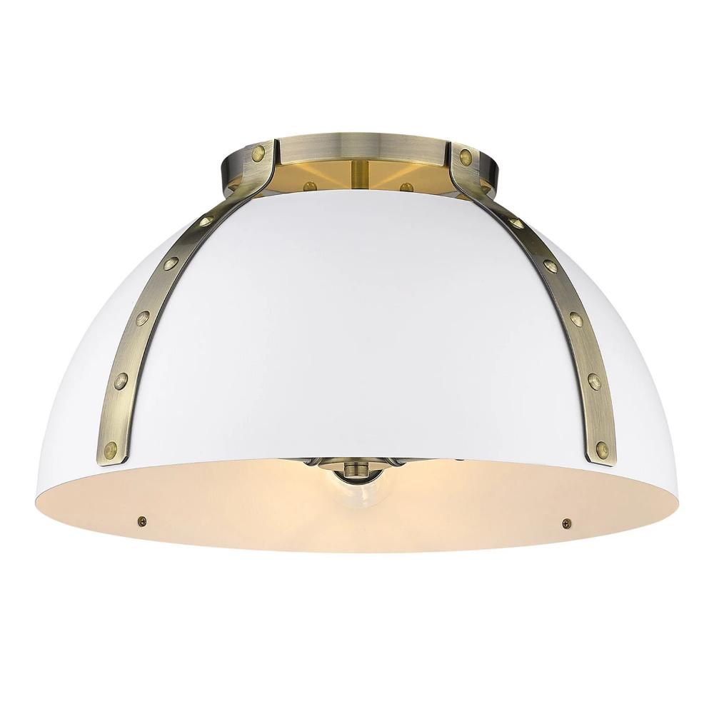 Aldrich Mount, 3-Light Flush Mount, Matte White Shade, Aged Brass