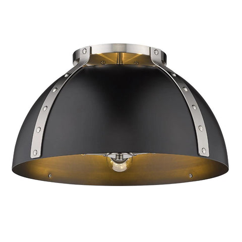 Aldrich Mount, 3-Light Flush Mount, Matte Black Shade, Pewter