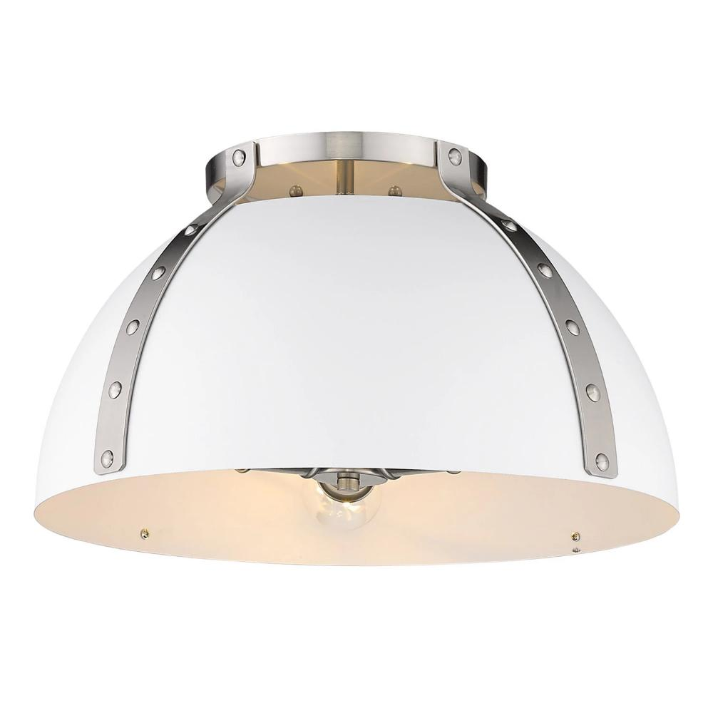 Aldrich Mount, 3-Light Flush Mount, Matte White Shade, Pewter