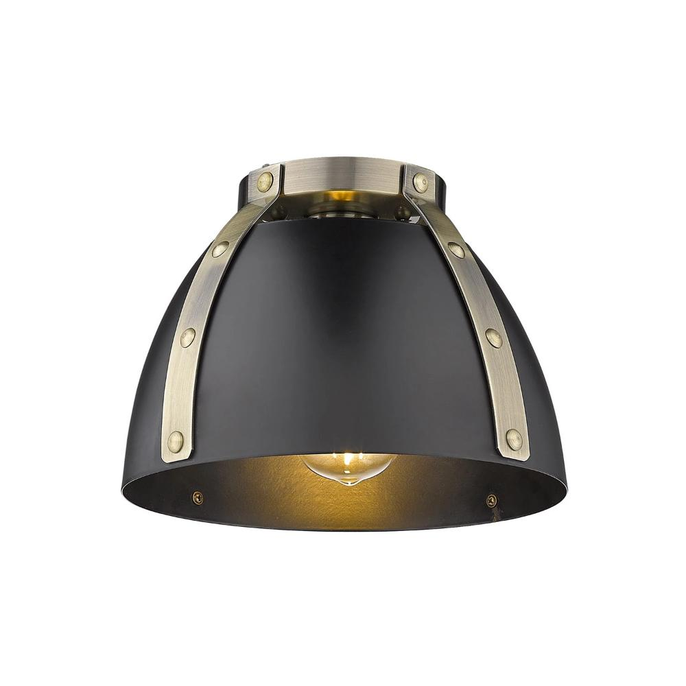 Aldrich Mount, 1-Light Flush Mount, Matte Black Shade, Aged Brass
