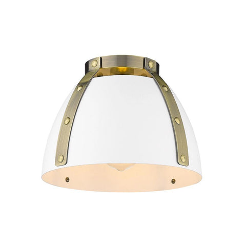 Aldrich Mount, 1-Light Flush Mount, Matte White Shade, Aged Brass