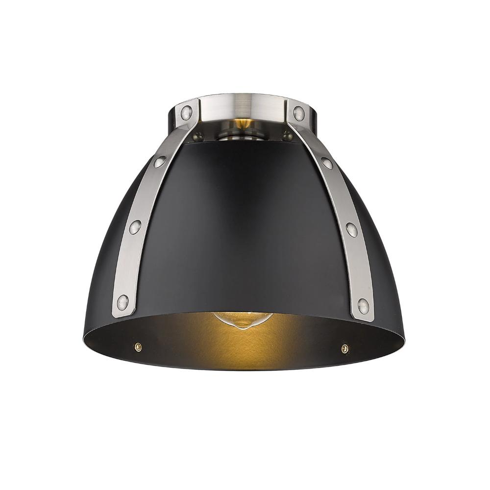 Aldrich Mount, 1-Light Flush Mount, Matte Black Shade, Pewter