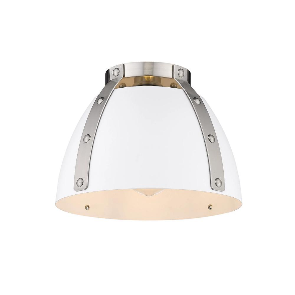 Aldrich Mount, 1-Light Flush Mount, Matte White Shade, Pewter