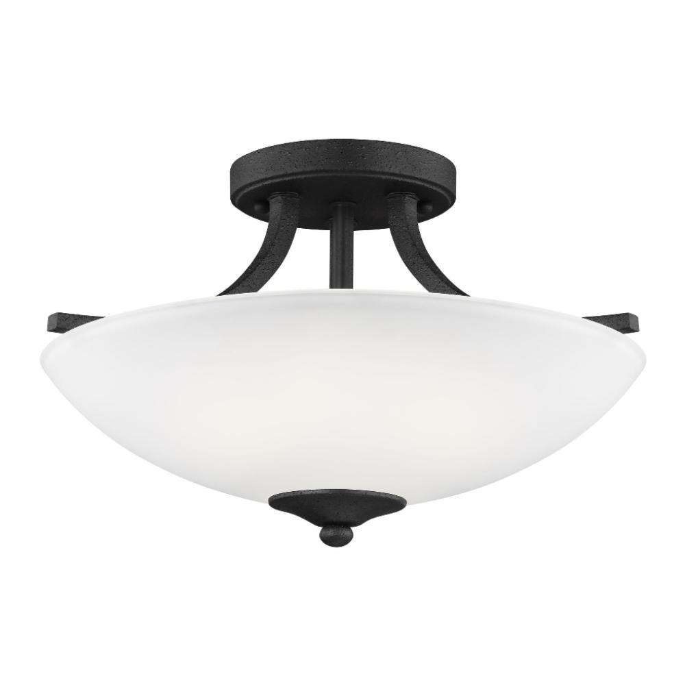 Barton 2-Light Semi-Flush Pendant, Pendant, Blacksmith