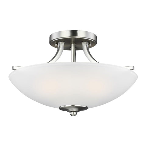 Barton 2-Light Semi-Flush Pendant, Pendant, Brushed Nickel