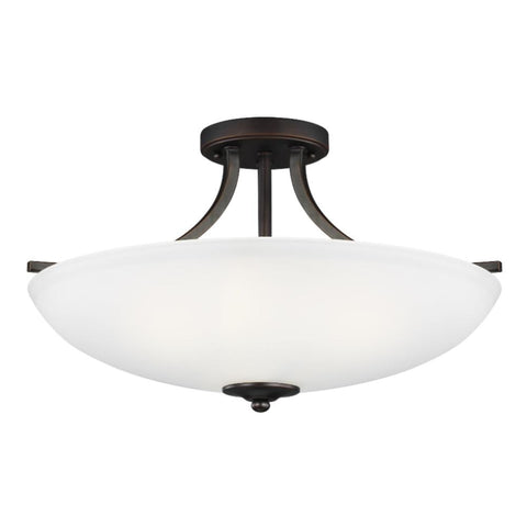 Barton 3-Light Semi-Flush Pendant, Pendant, Bronze