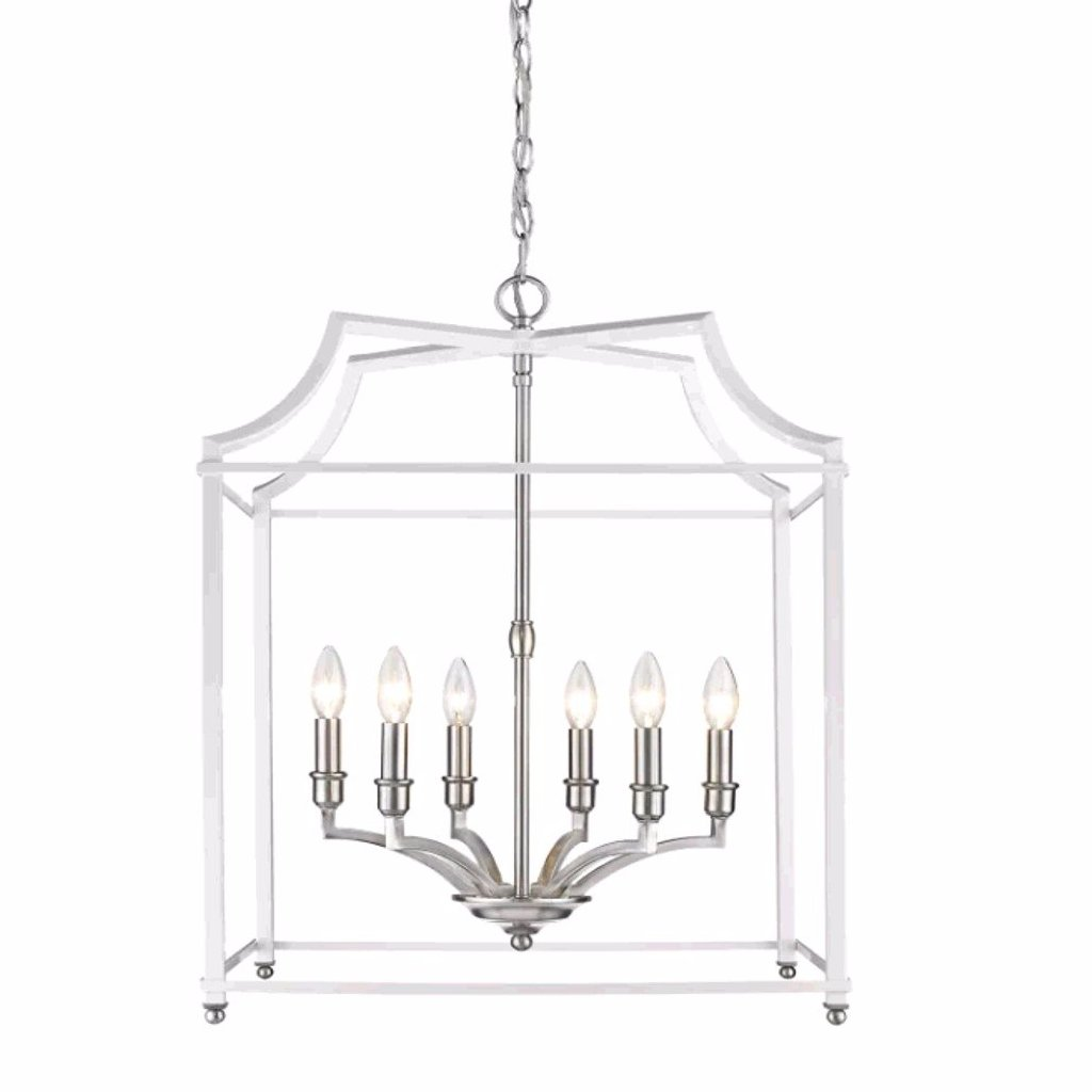 Leighton 6-Light Chandelier in Pewter/White, by Golden Lighting, 8401-6P PW-WH