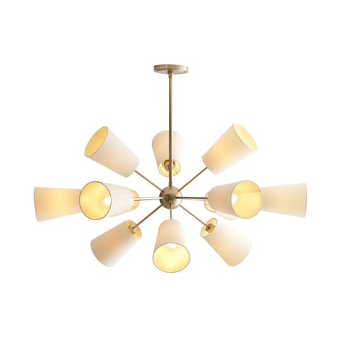 Amsterdam Chandelier, 12-Light Chandelier, Pale Brass, White Linen Shade