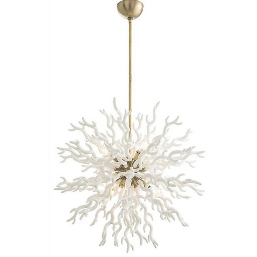 Arteriors Home Large Diallo Chandelier in White and Antique Brass 89992