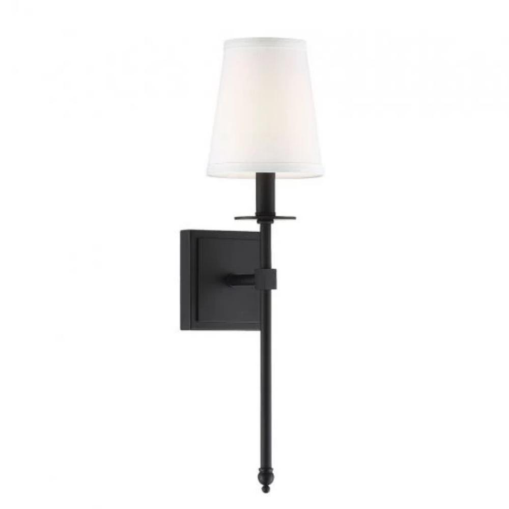 Small Monroe Sconce, 1-Light Wall Sconce, Matte Black, White Fabric Shade