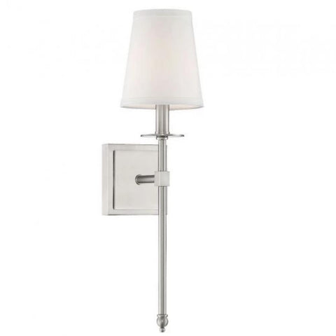 Small Monroe Sconce, 1-Light Wall Sconce, Satin Nickel, White Fabric Shade