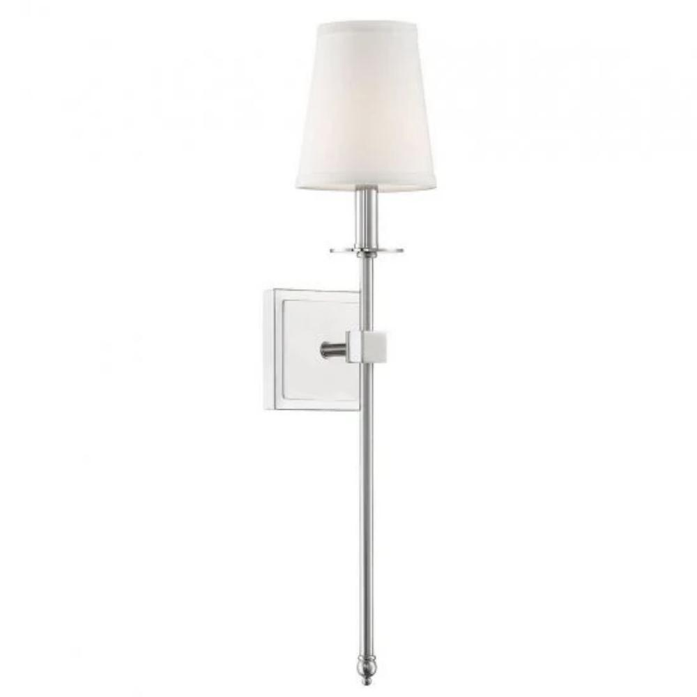 Medium Monroe Sconce, 1-Light Wall Sconce, Polished Nickel, White Fabric Shade