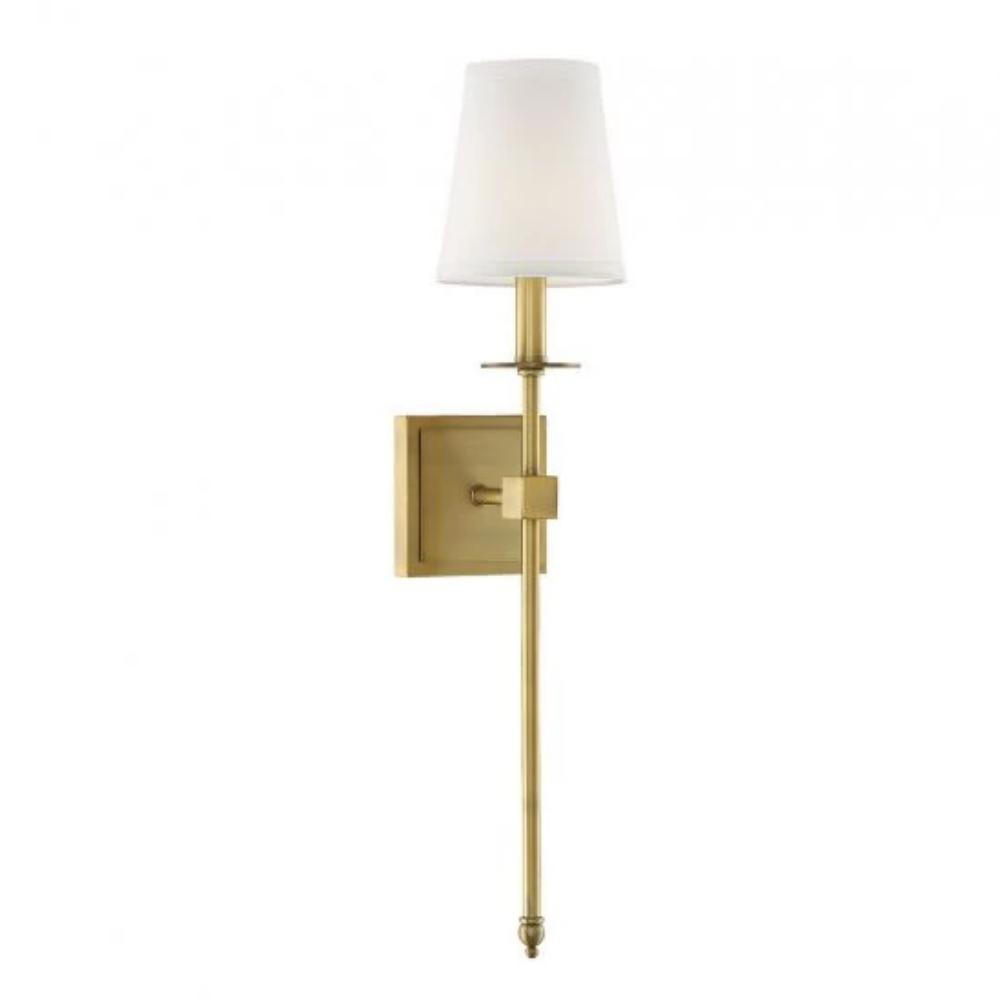 Medium Monroe Sconce, 1-Light Wall Sconce, Warm Brass, White Fabric Shade
