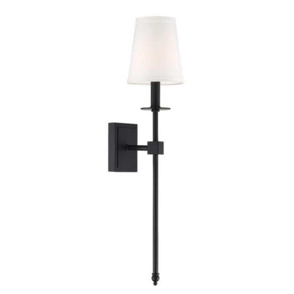 Medium Monroe Sconce, 1-Light Wall Sconce, Matte Black, White Fabric Shade