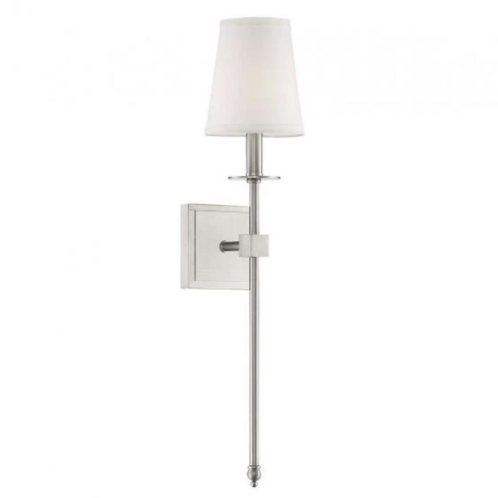 Medium Monroe Sconce, 1-Light Wall Sconce, Satin Nickel, White Fabric Shade