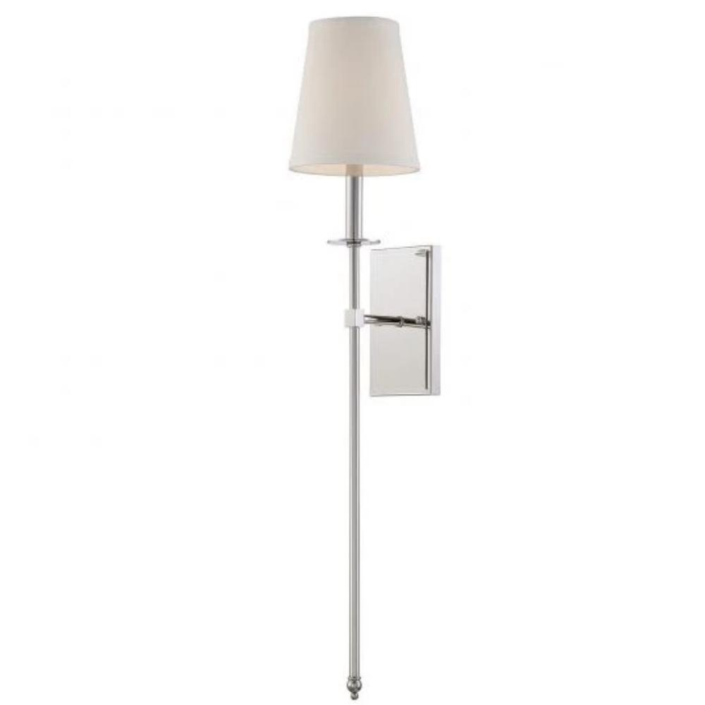 Large Monroe Sconce, 1-Light Wall Sconce, Polished Nickel, White Fabric Shade