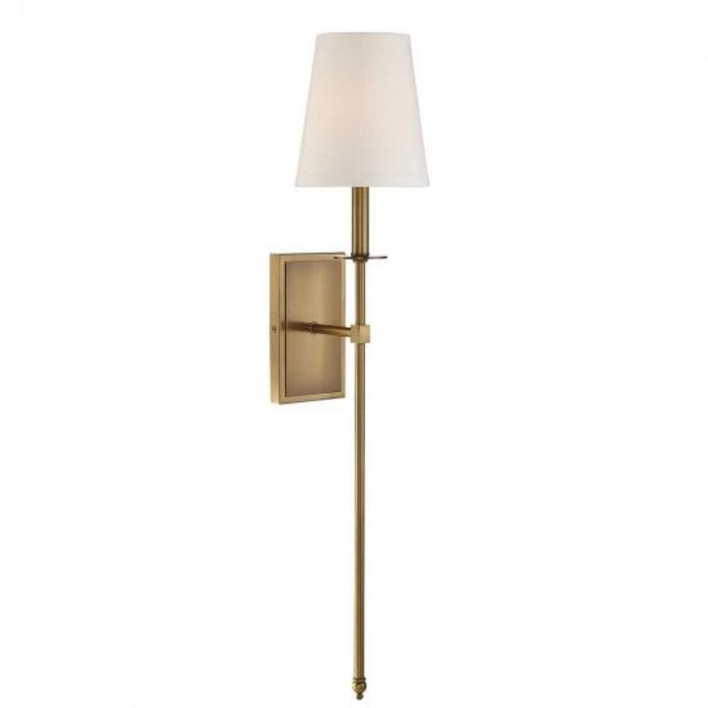 Large Monroe Sconce, 1-Light Wall Sconce, Warm Brass, White Fabric Shade