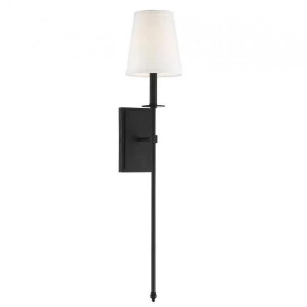 Large Monroe Sconce, 1-Light Wall Sconce, Matte Black, White Fabric Shade
