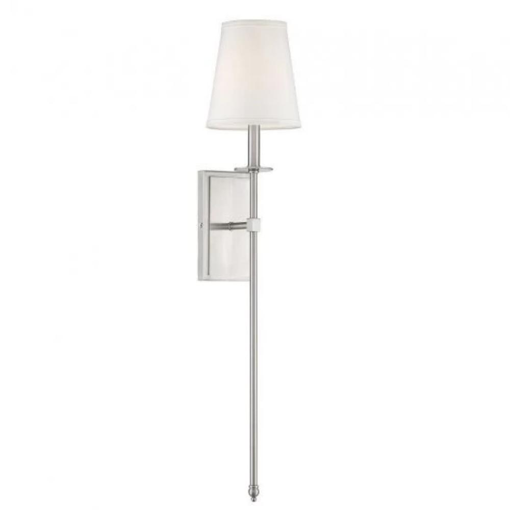 Large Monroe Sconce, 1-Light Wall Sconce, Satin Nickel, White Fabric Shade