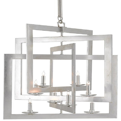 Middleton Small Chandelier, 8-Light Chandelier, Contemporary Silver Leaf