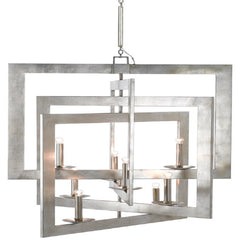 Middleton Large Chandelier, 8-Light Chandelier, Contemporary Silver Leaf