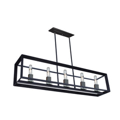 Vineyard 5 Light Linear Chandelier in Matte Black by Artcraft AC10065