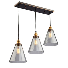 Greenwich Linear Suspension in Copper and Bronze with Clear Cone Glass Shades by Artcraft Lighting | Lighting Connection AC10168