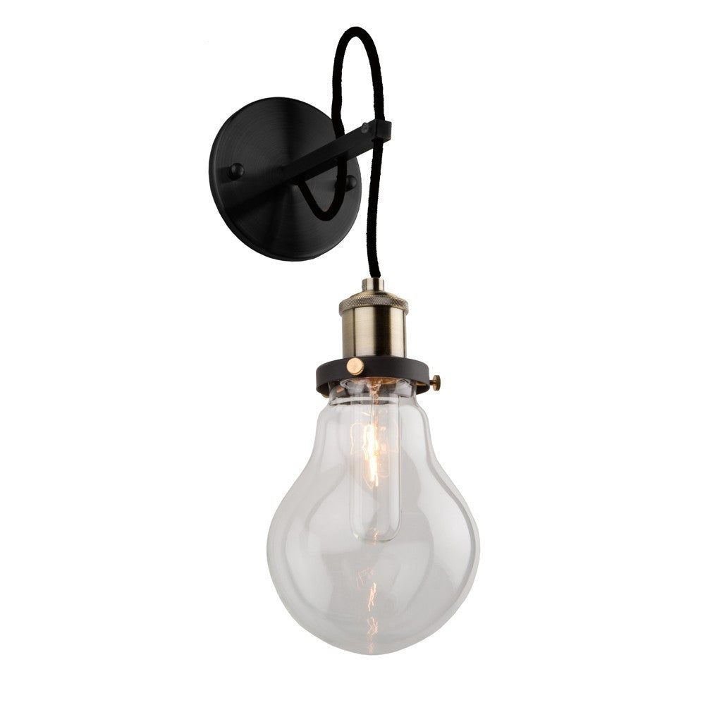 Edison Matte Black and Vintage Brass Industrial Wall Sconce by Artcraft AC10480 | Hallway and Bathroom Wall Lighting