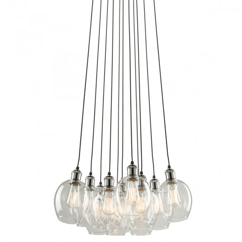 Clearwater 11 Light Chandelier in Polish Nickel and Black with Clear Glass Shades by Artcraft AC10731PN