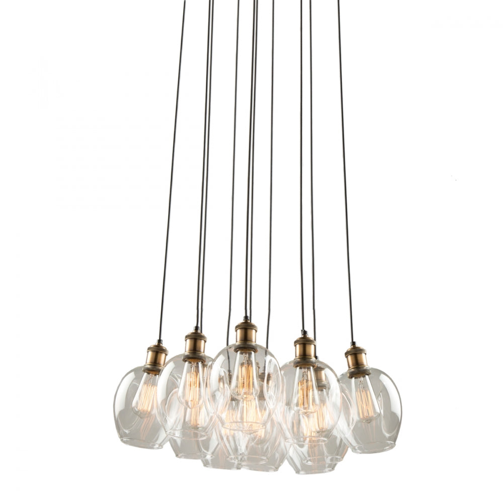 Clearwater 11 Light Chandelier in Vintage Brass and Black with Clear Glass Shades by Artcraft AC10731VB