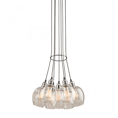 Clearwater 7 Light Chandelier in Polish Nickel and Black with Clear Glass Shades by Artcraft AC10737PN