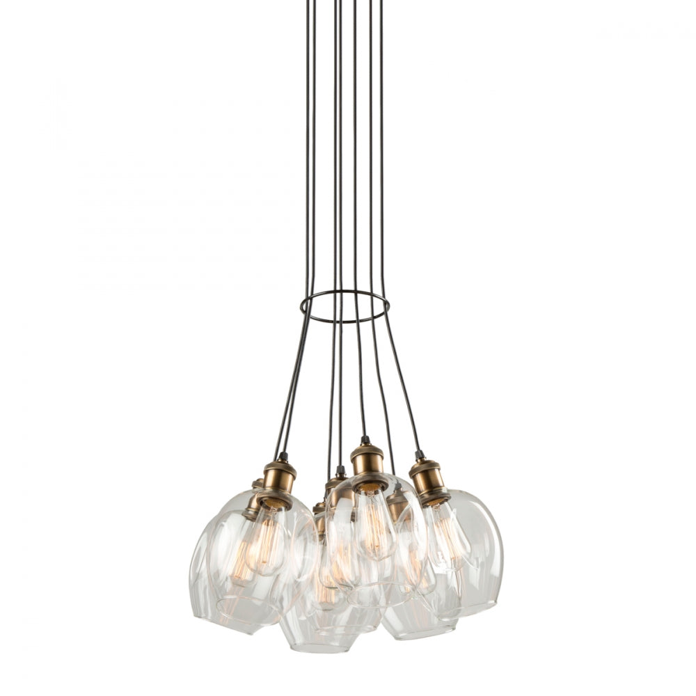 Clearwater 7 Light Chandelier in Vintage Brass and Black with Clear Glass Shades by Artcraft AC10737VB