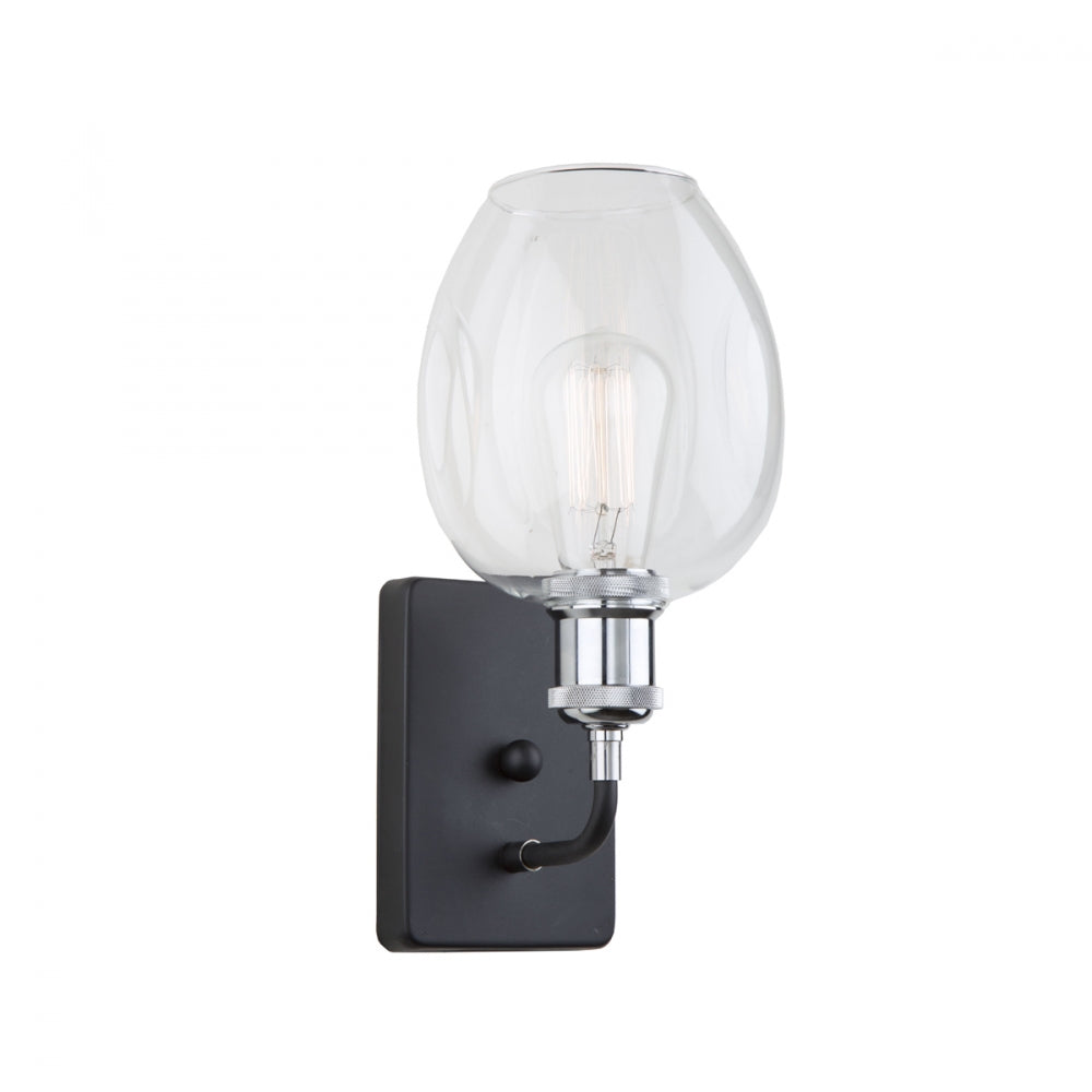 Artcraft Lighting Clearwater 1 Light Wall Sconce in Polish Nickel and Black with rounded clear glass shade AC10738PN
