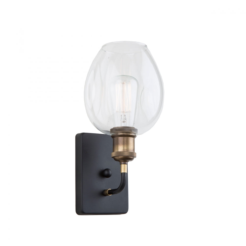 Artcraft Lighting Clearwater 1 Light Wall Sconce in Vintage Brass and Black with rounded clear glass shade AC10738VB