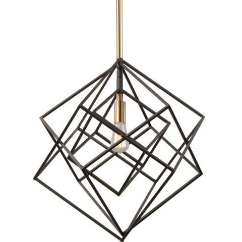 Artistry Black and Brass Modern Kitchen Island Pendant by Artcraft Lighting