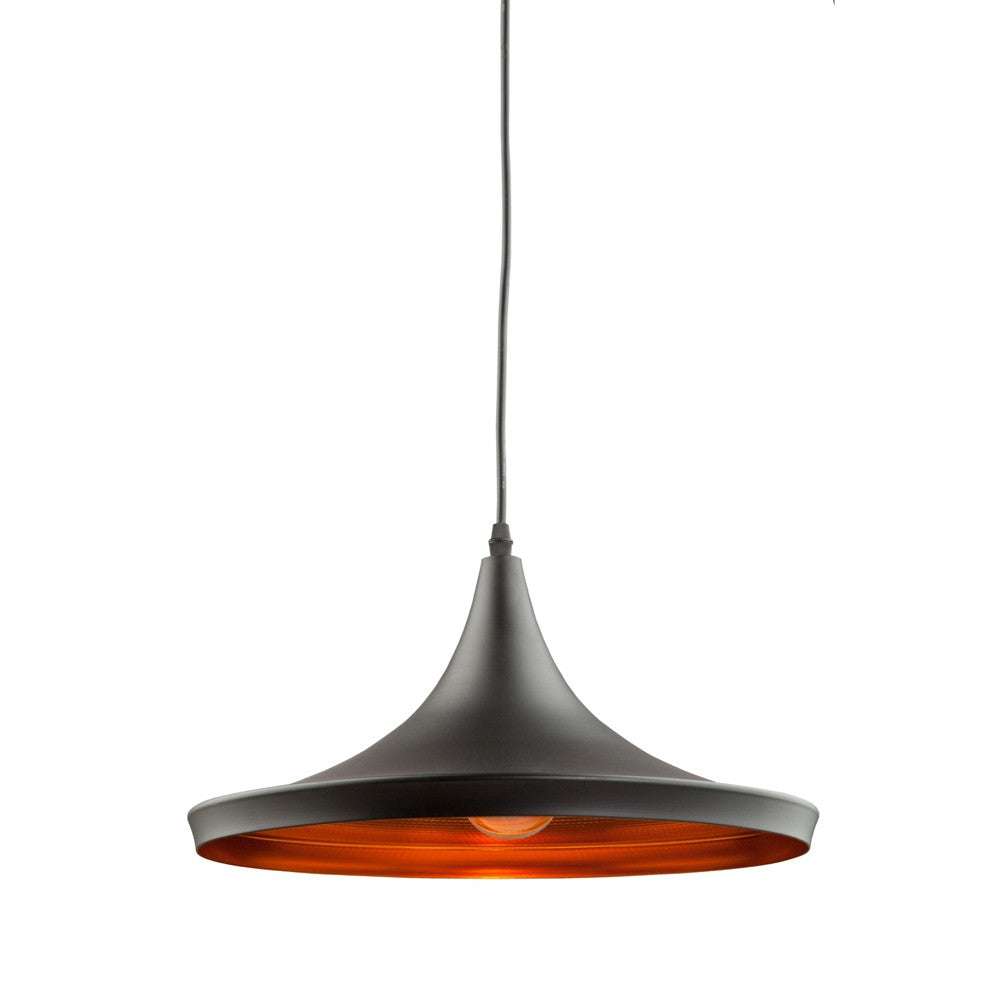 Connecticut 1 Light Pendant in Matte Black and Copper by Artcraft AC-JA802