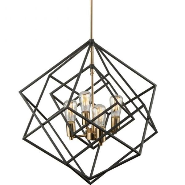 Artistry Black and Brass 4 Light Chandelier by Artcraft Lighting AC11114 | Modern Open Cage Lighting
