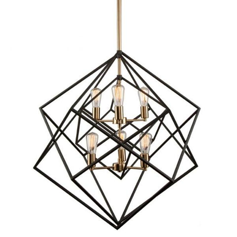 Artistry 6 Light Modern Black and Brass Chandelier by Artcraft AC11116 | Open Cage Lighting