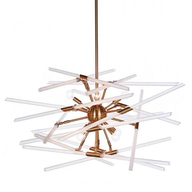 Aidan Gray Solitude Chandelier in Brass with Frosted Glass L546 CHAN HOM-frosted