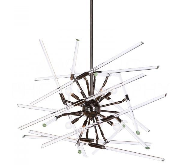 Aidan Gray Solitude Chandelier in Black with Clear Glass L547 CHAN HOM-clear