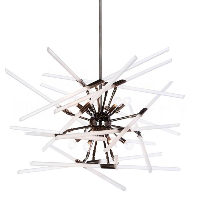 Aidan Gray Solitude Chandelier in Black with Frosted Glass L547 CHAN HOM-frosted