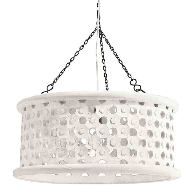 Arteriors Home Wooden Small Jarrod Drum Pendant in Whitewash Finish 86719