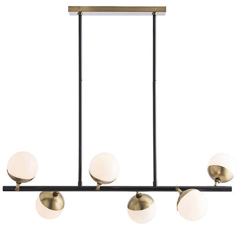 Wahlburg Chandelier in Antique Brass with Opal Glass Shade Material by Arteriors, 89026