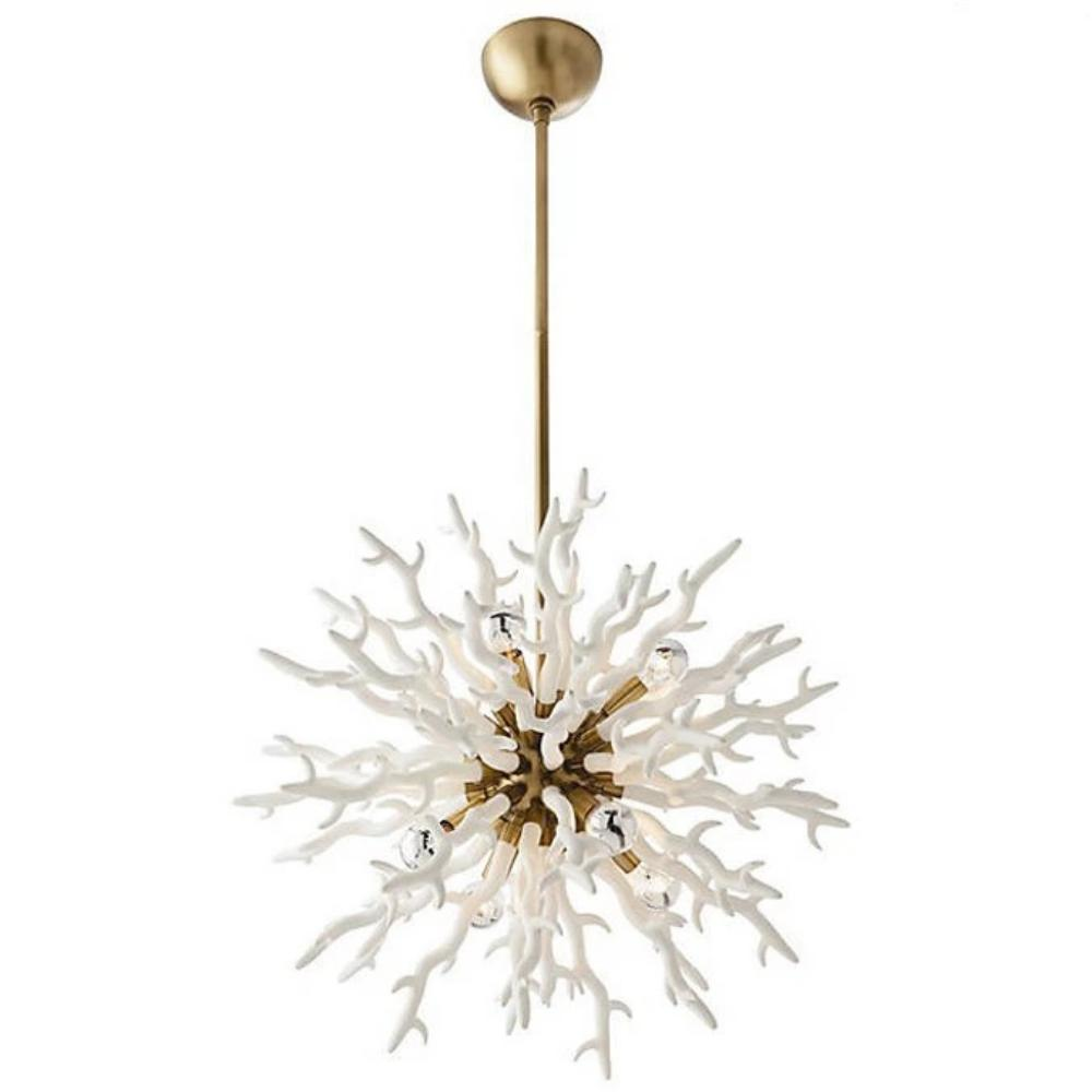 Arteriors Home Small Diallo Chandelier in White and Antique Brass 89986