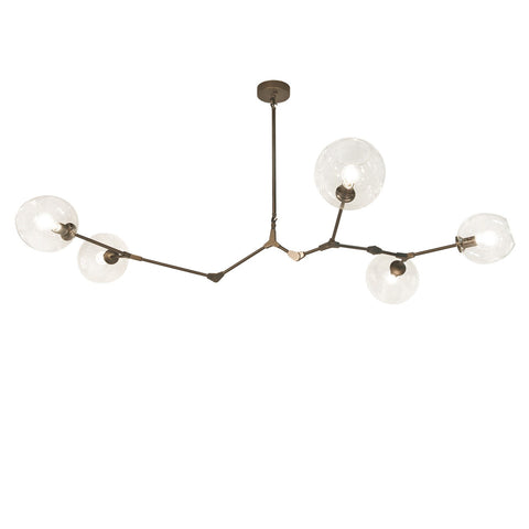 Fairfax Bronze 5 Light Mid-Century Modern Chandelier with Clear Glass Globes by Avenue Lighting HF8085-dBZ
