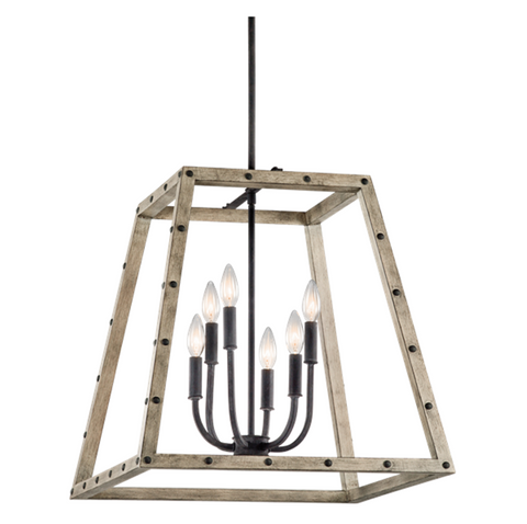 6 Light Distressed Antique Gray Wood Open Cage Basford Pendant with black Weathered Zince Metal by Hinkley Lighting 43520DAG
