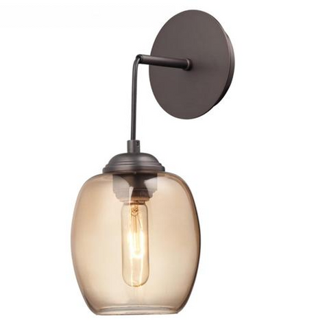 Minka Lavery Bubble Wall Sconce in Copper Bronze with Teak Glass Shade P931-647