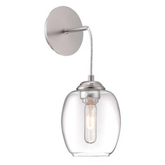 Minka Lavery Bubble Wall Sconce in Brushed Nickel with Clear Glass Shade P931-084